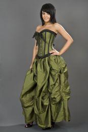 Ballgown victorian maxi skirt in olive green taffeta