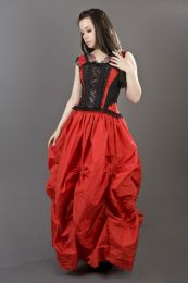 Ballgown maxi victorian skirt in red taffeta