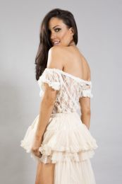 Elvira long burlesque skirt in cream and brown lace