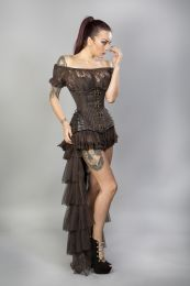 Maya burlesque bustle skirt in brown net