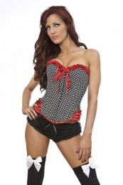 Maybow overbust rockabilly corset in polka dot and red satin