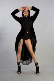Megna Ladies Jacket in Black Velvet Flock