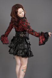 Melissa burlesque bolero jacket in red cotton and black lace overlay