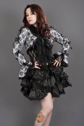 Melissa burlesque bolero jacket in white cotton and black lace overlay