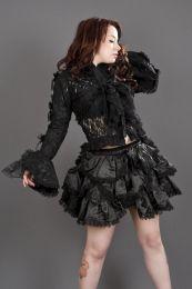Melissa burlesque bolero jacket in black cotton and black lace overlay