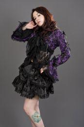 Melissa gothic bolero jacket in purple cotton and black lace overlay