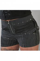 Melissa gothic hotpants in black and white stripes