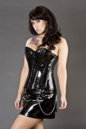 Mercy clubwear mini skirt in black PVC