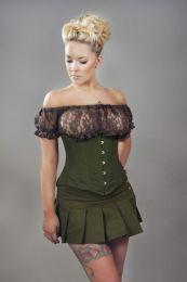 Micra punk rock mini skirt in green olive twill
