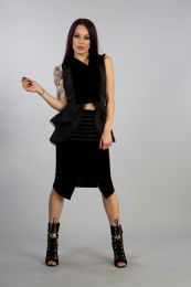 Military pencil knee skirt in black velvet flock with wrap look effect and front decoration. Zip fastening.