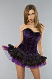 Mini skirt in purple mesh and organza layers