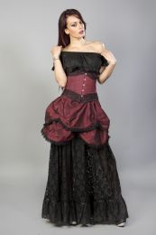 Amanda underbust steel boned corset in burgundy taffeta with black lace details.