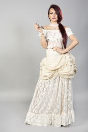 Miranda long gothic victorian skirt in cream taffeta