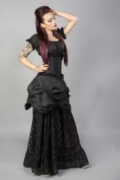 Miranda long gothic victorian skirt in black taffeta