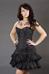 Mistress overbust steel boned corset in black taffeta