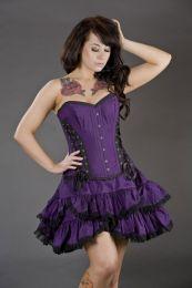 Mistress overbust steel boned corset in purple taffeta