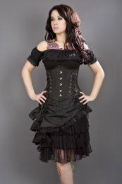 Mistress underbust steel boned waist training corset in black taffeta