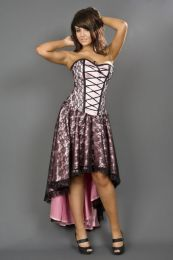 Mollflanders burlesque corset dress in pink satin and black lace overlay
