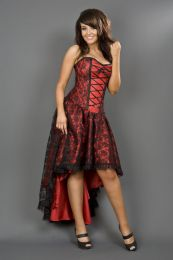 Mollflanders goth corset dress in red satin and black lace overlay