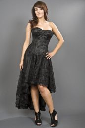 Mollflanders victorian gothic corset dress in black satin and black lace overlay