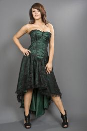 Mollflanders corset dress in green satin and black lace overlay