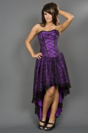 Mollflanders gothic corset dress in purple satin and black lace overlay