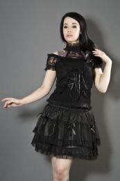 Morgana black gothic top with mesh overlay