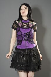 Morgana gothic top in purple cotton with mesh overlay