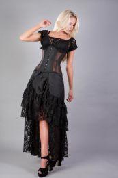 Morgana underbust steel boned corset in brown taffeta