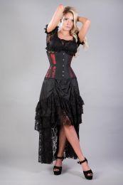 Morgana underbust steel boned corset in red king brocade