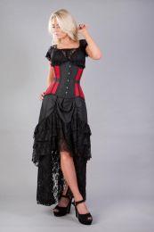 Morgana underbust steel boned corset in red taffeta