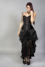 Morgana long overbust burlesque corset in black velvet flock
