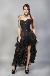 Morgana long overbust burlesque corset in brown taffeta