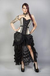 Morgana long overbust burlesque corset in cream taffeta