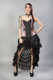 Morgana long overbust burlesque corset in pink taffeta
