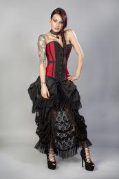Morgana long overbust burlesque corset in red taffeta
