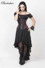 Morgana underbust steel boned corset in burgundy satin flock with black lace details
