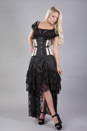 Morgana underbust steel boned corset in cream taffeta