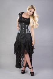 Morgana underbust steel boned corset in silver taffeta