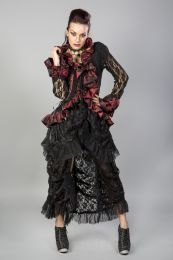 Morticia victorian gothic jacket in black lace red king