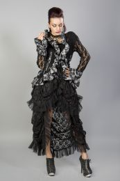 Morticia victorian gothic jacket in black lace silver king