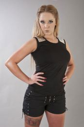 Nora punk rock top with studs in black cotton