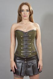 Officer steel boned overbust corset in olive green twill