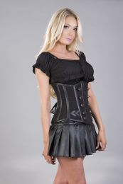 Officer underbust waist cincher in grey twill