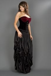 Opera overbust steel boned corset in black and burgundy velvet