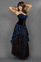 Opera overbust steel boned corset in black and turquoise velvet