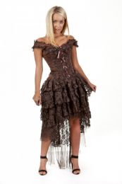 Ophelie burlesque corset dress in brown brocade