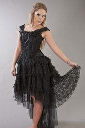 Ophelie victorian gothic corset dress in black satin flock