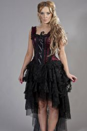 Ophelie vintage corset dress in burgundy satin flock