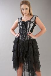 Ophelie victorian gothic corset dress in silver satin flock